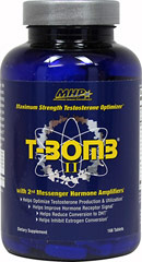 T-Bomb II <strong>From the Manufacturer's Label:</strong><br /><br />T-Bomb II contains per 3 tablets: Magnesium 15mg, Zinc 25mg, Copper 2mg,  Optimone5 (Five Phase Hormone Optimizing Blend: 903mg), 2nd Messenger  Hormone Amplifiers (Receptor Signal Transduction Blend 625mg). <br /><br />T-Bomb II is manufactured by MHP. 						<br /> 168 Tablets  $39.99