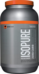 Isopure Zero Carb Whey Protein Isolate Mango Peach <p><b>From the Manufacturer's Label: </p></b> <p>Nature's Best Zero Carb Isopure contains 50 grams of 100% Ion Exchange Whey Protein Isolate. Any and all impurities typically found in most whey proteins have been removed to provide you with a great tasting, lactose free, fat free, glutamine enriched, state of the art carbohydrate free protein supplement.</p> 3 lbs Powder  $40.99