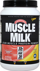 Muscle Milk® Strawberry Banana <p><strong>From the Manufacturer's Label:</strong></p><p>Precision Protein Blend:</p><p>Muscle  Milk® contains a unique blend of proteins designed to provide essential  nutrients to aid exercise recovery and muscle growth.*</p><p>The lean lipids used in Muscle Milk® are a blend of canola oil, sunflower oil, and median chain triglycerides (MCTs)</p><p>Muscle Milk's® carbohy