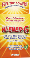 Hi-Ener-G™ 500 mg <p><strong>From the Manufacturer's Label: </strong></p><p>Powerful Natural Instant Energizer!**</p><p>Triple Ginseng Formula</p><p>Extended Release</p><p>With Green Tea & Exclusive Energizing Herbal Extracts</p><p>Maximum Cell Energy Formula**</p> 20 Caplets 500 mg $6.99