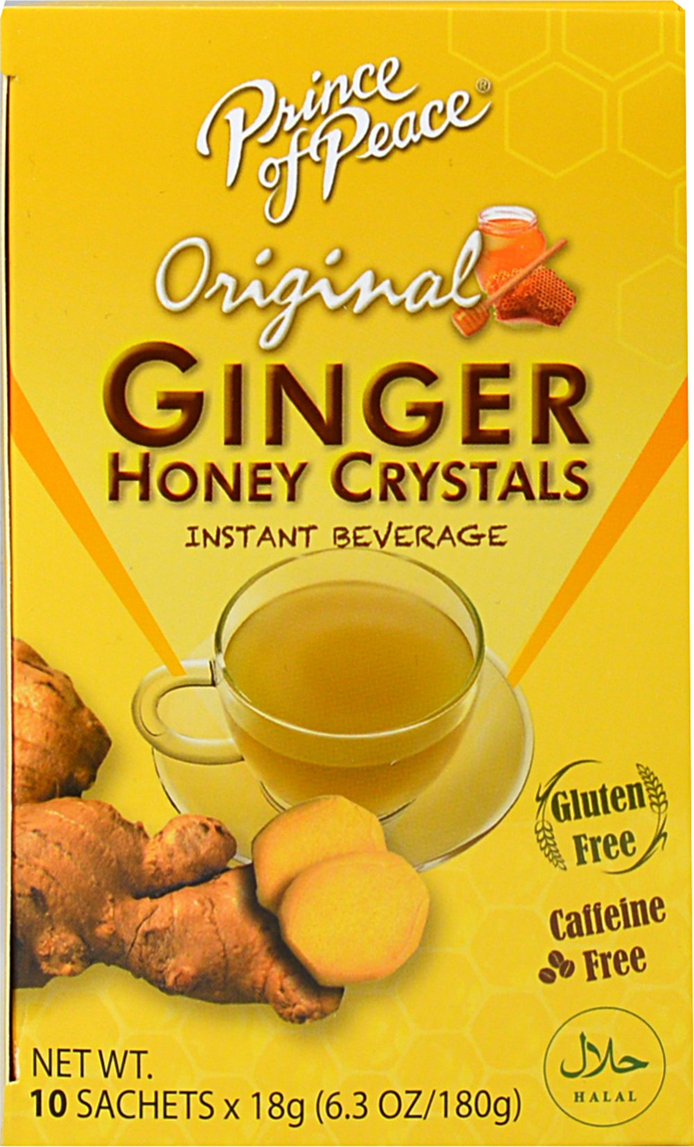 Ginger Honey Crystals <p><strong>From the Manufacturer's Label: </strong></p><p>Prince of Peace brings you all the natural benefits of Ginger and Honey in their special blend of Instant Ginger Honey Crystals. Instant soluble, convenient, and has no artificial additives. You'll love this sweet and spicy flavor!<br /></p> 10 Box  $7.99