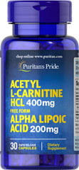 Acetyl L-Carnitine 400 mg with Alpha Lipoic Acid 200 mg  30 Capsules 200 mg $11.99
