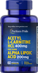 Acetyl L-Carnitine Free Form 400 mg with Alpha Lipoic Acid 200 mg <p>Supports Antioxidant Health**</p><p>Supports Metabolic Functioning**</p><p>Use as part of your healthy aging program**</p><p>As we age, our cells are less able to counteract the cell-damaging effects of free radicals and oxidative stress. Oxidative stress can lead to the premature aging of cells.</p> 60 Capsules 400 mg/200 mg $8.99