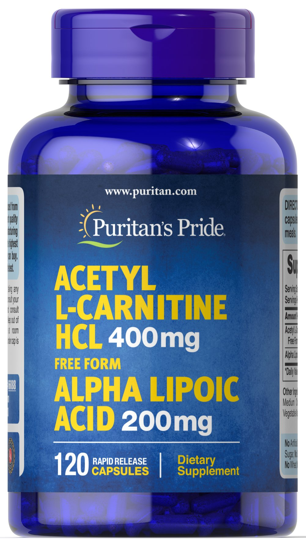 Acetyl L-Carnitine 400 mg with Alpha Lipoic Acid 200 mg  120 Capsules 400 mg/200 mg $67.99