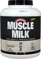Muscle Milk® Cookies N Crème <p><strong>From the Manufacturer's Label:</strong></p><p>Precision Protein Blend:</p><p>Muscle  Milk® contains a unique blend of proteins designed to provide essential  nutrients to aid exercise recovery and muscle growth.*</p><p>The lean lipids used in Muscle Milk® are a blend of canola oil, sunflower oil, and median chain triglycerides (MCTs)</p><p>Muscle Milk's® carb