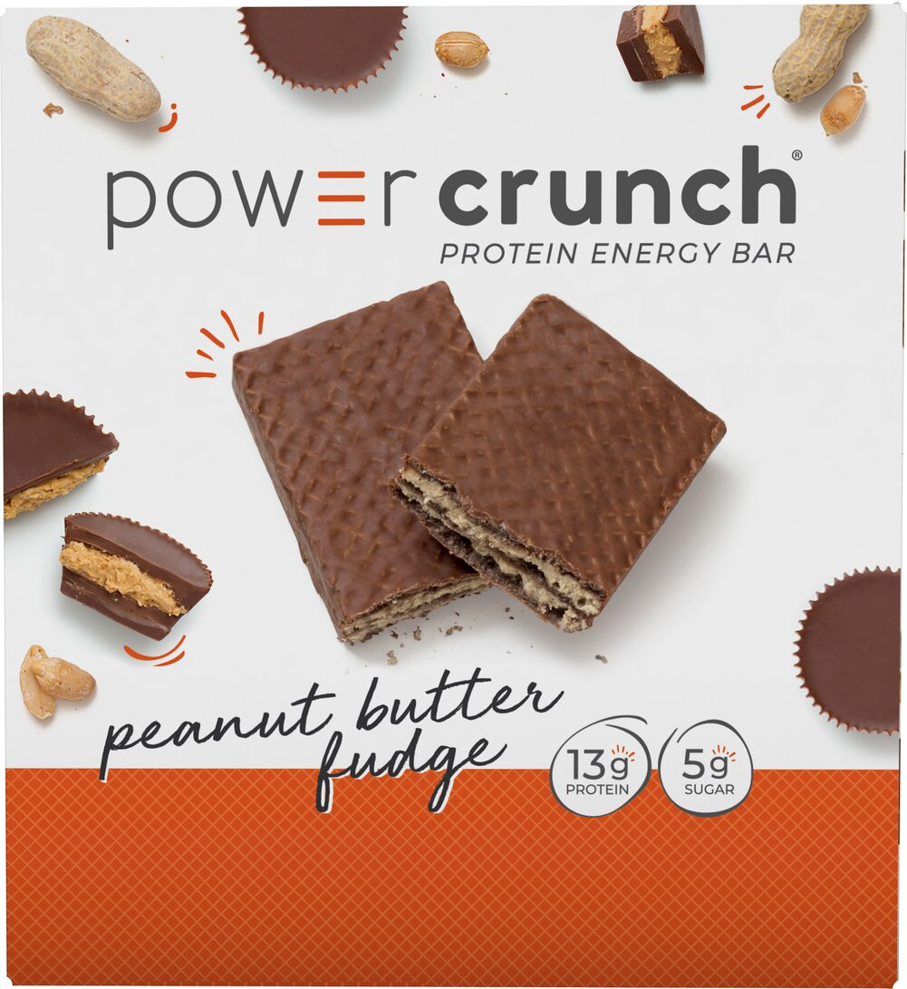 "Power Crunch® Bar Peanut Butter Fudge <p>High Protein Energy Snack</p> <p>Made with Proto Whey® Protein & Glutamine</p> <p>""Nutrition Engineered for the Human Race""®</p>  <p>Power Crunch® cream filled wafer cookies are available in delicious Peanut Butter Fudge.</p>  12 Bars  $14.99"