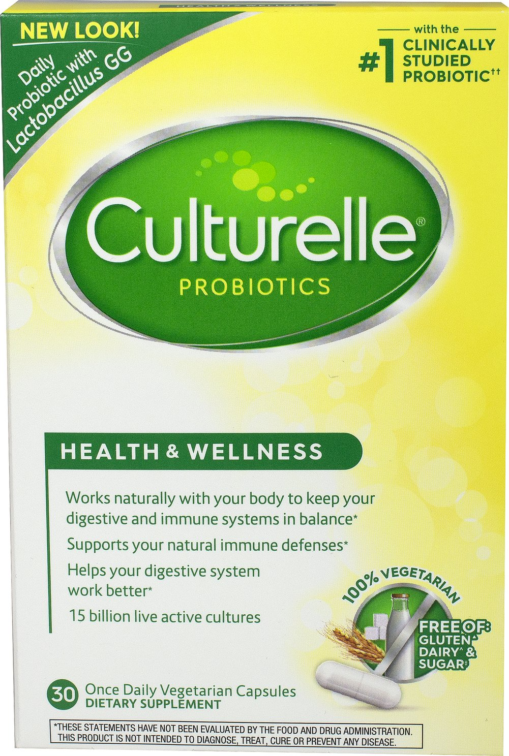 Culturelle® Probiotic <p><b>From the Manufacturer's Label: </p></b><p>Supports your healthy immune system**</p>  <p>Boosts digestion and overall digestive health**</p>  <p>Restores the natural balance of good bacteria in your digestive tract**</p>  30 Capsules 10 billion $15.04