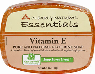 Clearly Natural® Vitamin E Glycerine Soap <p><b>From the Manufacturer's Label: </p></b><p>Biodegradable</p><p>Pure & Natural Glycerine Soap</p><p>Gentle & Non-Drying</p><p> Hypo-Allergenic</p><p>No Animal Ingredients, Artifical Ingredients, Sodium Lauryl Sulfate (SLS), Sodium Laureth Sulfate (SLES). Cruelty-Free.</p><p>Manufactured by Clearly Natural®</p>       4 oz Bar  $1.39