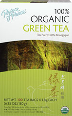 Organic Green Tea <p><b>From the Manufacturer's Label: </p></b><p>For thousands of years, green tea has been known to possess health benefits such as antioxidants, which can aid in combating free radicals that cause cell damage.* This young tender 100% Organic Green Tea is freshly harvested; the leaves are then gently washed, steamed, rolled and dried to retain their delicate flavor and aroma.</p><p>Manufactured by PRINCE OF PEACE</p>   100 Tea