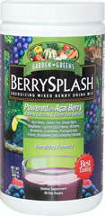 Berry Splash™ Energizing Mixed Berry Drink Mix From the Manufacturer's Label:<br /><ul><li>Powered with Acai Berry</li><li>8 Berry Extracts & Green Tea Extract</li><li>Energizing Formula**</li><li>Provides 100 mg of Anthocyanins and 2800 ORAC + per Serving**<br /><br /></li></ul><p>In addition to the Acai Berry, Berry Splash™ contains other nutrient rich berry extracts such as Raspberry, Lycium, Bilbe