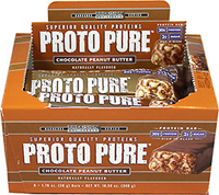 "Protopure Bars Choc Peanut Butter 50 gram Bar <p><b>From the Manufacturer's Label: </p></b><p>20g Protein</p> <p>2g Sugar</p> <p>High Protein Bar</p>  <p>""The Power Protein"" high protein bar from Precision Engineered. Delicious Chocolate Peanut Butter.</p> 6 Bars 50 gram $8.39"