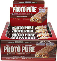 "Protopure Bars Chocolate Chip <p><b>From the Manufacturer's Label: </p></b><p>32g Protein</p> <p>4g Sugar</p> <p>High Protein Bar</p>  <p>""The Power Protein"" high protein bar from Precision Engineered. Choose from delicious Chewy Chocolate Chip, and Chocolate Peanut Butter.</p> 12 Bars  $20.99"