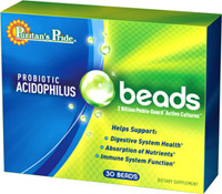 Probiotic Acidophilus Beads <p><b>2 Billion Active Probiotic Cultures</b></p> <p>Acidophilus Probiotic Beads are formulated in a unique triple layer shell designed to help protect the active cultures provided in every serving.</p> <p>Helps cleanse the intestinal tract**</p> <p>Supports digestive function**</p> <p>Promotes a healthy environment for proper nutrient absorption**</p> <p>Supports healthy immune system funct
