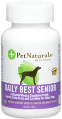 Natural Dog Daily Senior <p><strong>From the Manufacturer's Label: </strong></p><p>Natural Dog Daily Senior is a unique high potency multiple vitamin mineral formula with key synergistic nutrients to support the GI tract, eye, skin, joint, liver and brain health of the older dog.</p><p>Smoke flavored chewable tablets contain amino acids and essential fatty acids, among other ingredients. <br /></p> 60 Tablets  $24.99
