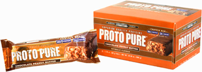 "Protopure Bars Choc Peanut Butter <p><strong>From the Manufacturer's Label: </strong></p><p>31g Protein</p><p>3g Sugar</p><p>High Protein Bar</p><p>""The Power Protein"" high protein bar from Precision Engineered. Choose from delicious Chewy Chocolate Chip, and Chocolate Peanut Butter.</p> 12 Bars  $20.99"