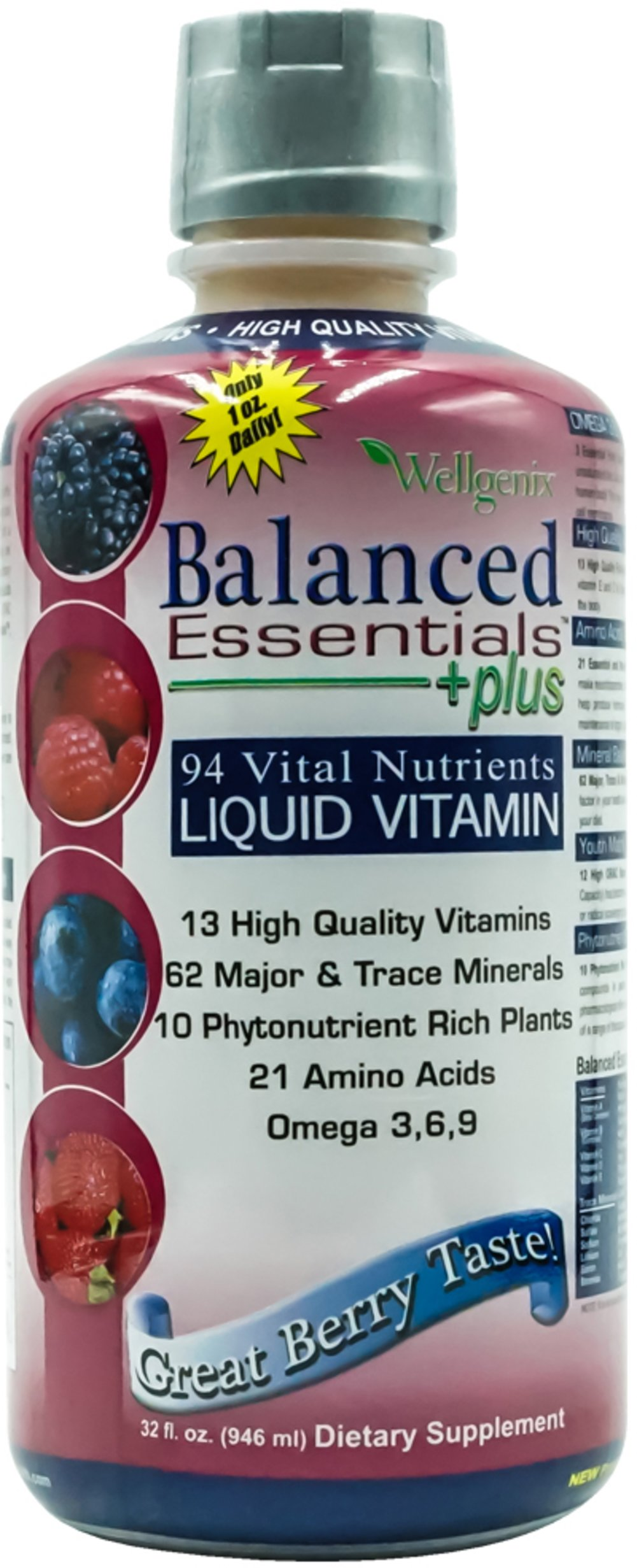 Balanced Essential™ Multivitamin <p><strong>From the Manufacturer:</strong></p><p>Balanced Essentials™ with 94 Vital Nutrients:</p><p>13 High Quality Vitamins</p><p>62 Major & Trace Minerals</p><p>10 Phytonutrient Rich Plants</p><p>18 Amino Acids</p><p>Omega 3,6,9</p><p>Manufactured by Wellgenix</p> 32 oz Liquid  $19.99