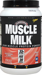 Muscle Milk® Strawberries and Crème <p><strong>From the Manufacturer's Label:</strong></p><p>Precision Protein Blend:</p><p>Muscle  Milk® contains a unique blend of proteins designed to provide essential  nutrients to aid exercise recovery and muscle growth.*</p><p>The lean lipids used in Muscle Milk® are a blend of canola oil, sunflower oil, and median chain triglycerides (MCTs)</p><p>Muscle Milk's&#17