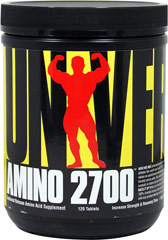 Amino 2700 <p><b>From the Manufacturer's Label:</b></p> <p>Amino 2700 is manufactured by Universal.</p> 120 Tablets 2700 mg $13.99