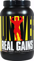 "Real Gains™ Chocolate <p><strong>From the Manufacturer's Label:</strong></p><p>Whey-Micellar Caseini Protein Matrix</p><p>Complex Carbs</p><p>600+ Calories Per Serving</p><p>Enhanced with Inulin & Flaxseed Oil</p><p>Real Gains™ is a ""clean"" high protein weight gainer providing fast and slow protein sources in the form of whey isolates and concentrates coupled with micellar casein. Real Gains™ utilizes compl"