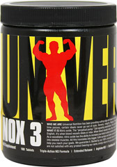 NOX3 <p><b>From the Manufacturer's Label:</b></p> <p>NOX3 is manufactured by Universal.</p> 180 Tablets  $32.99