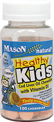 Healthy Kids Cod Liver Oil Chewable with Vit D <p>Healthy Kids Cod Liver Oil Chewable with Vitamin D! </p><p>This time honored favorite  is one of nature's richest sources of Vitamin A, D and Omega-3 Fatty Acids.  </p><p>These tasty chewable tablets have been specially developed for people who have difficult digesting oil and for those who do not prefer the taste of Cod Liver Oil.</p> 100 Chewables  $5.99