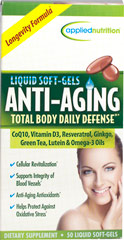Anti-Aging Total Body Daily Defense <p><strong>From the Manufacturer's Label:</strong></p>Anti-Aging soft-gels contain CoQ10, Vitamin D3, Resveratrol, Green Tea, Ginkgo, Lutein and Omega 3 Oils. 50 Softgels  $10.99