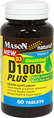 D3 1000 Plus Aloe, Calcium, B-6, B-12, Folic Acid <strong></strong><p><strong>From the Manufacturer's Label:</strong></p><p>D3 Plus Aloe, Calcium, B-6, B-12, Folic Acid. </p>• Bone Health & Calcium Absorption • Immune System Health   <p></p> 60 Tablets  $11.99