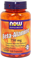 Beta Alanine 750 mg <p><strong>From the Manufacturer's Label:</strong></p><p>Beta-Alanine is a non-essential amino acid that is used by muscle cells to synthesize Carnosine.**  Carnosine is a dipeptide (Beta-Alanine plus Histidine) that functions as a buffer for the hydrogen ions (acid) produced during strenuous exercise, thus helping to maintain optimum muscular pH.  </p><p>Manufactured by Now® Foods.</p> 120 Capsules 750 mg $16.49