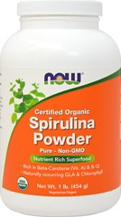 Organic Spirulina Powder <p><strong>From the Manufacturer's Label:</strong></p><p>This blue-green vegetable plankton is a good source of Vitamin A. NOW Spirulina delivers the nutrient profile found in Genuine Whole Foods. Rich in Beta Carotene and naturally occuring GLA.<br /></p> 1 lb Powder  $25.99