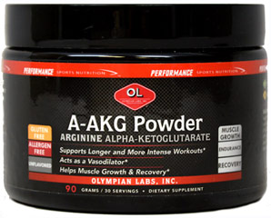 A-AKG Powder 3000 mg <p><b>From the Manufacturer's Label:</b></p>  <p>Arginine is a nonessential amino acid that influences several metabolic factors that are important to athletes.</p>  <p>Alpha-Ketoglutarate (AKG) combines with ammonia, generated by intense muscle activity, to create glutamine, and amino acid important for energy fuel and recovery.**</p>  <p>Manufactured by Olympian Labs.</p> 90 g Powder 3000 mg $9.99
