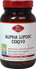Alpha Lipoic Co Q-10 <p><strong>From the Manufacturer:</strong></p><ul><li>Heart Health Support*</li><li>Blood Sugar Level Support*</li><li>Helps protect cells from free radicals*</li><li>Vegan, Gluten Free, Non GMO</li></ul><p>Manufactured by Olympian Labs, Inc.</p> 60 Vegi Caps  $20.99