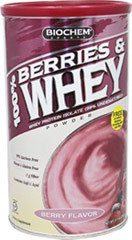 Berries & Whey Protein Powder <p><strong>From the Manufacturer's Label:</strong></p><p>Contains 100% pure Ultra-Filtered/Micro-Filtered (UF/MF) Whey Protein Isolate.  The Micro-Filtration method isolates the natural whey proteins in a highly concentrated form without fat.  This process leaves 99% of the peptides undamaged and undenatured.  Contains Goji, Acai, Blackberries, Strawberries, and Raspberries.</p> 11.1 oz Powder  $17.99