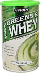 Greens & Whey Protein Vanilla <p><strong>From the Manufacturer's Label:</strong></p><p>Contains 100% pure Ultra-Filtered/Micro-Filtered (UF/MF) Whey Protein Isolate.  The Micro-Filtration method isolates the natural whey proteins in a highly concentrated form without fat.</p><p>Proprietary Greens Blend provides antioxidant support **</p><p>Alfalfa Leaf Juice Powder and Organic Barley Grass Juice Powder contain chlorophyll</p><p&g