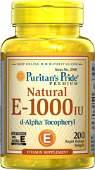 Vitamin E-1000 IU 100% Natural <p><b>Vitamin E</b> is a potent antioxidant that helps fight free radicals.** Studies have shown that oxidative stress caused by free radicals may contribute to the premature aging of cells.** Vitamin E also promotes immune function and helps support cardiovascular health.** Our Vitamin E is 100% natural and comes in a convenient to use softgel.</p> 200 Softgels 1000 IU $84.99