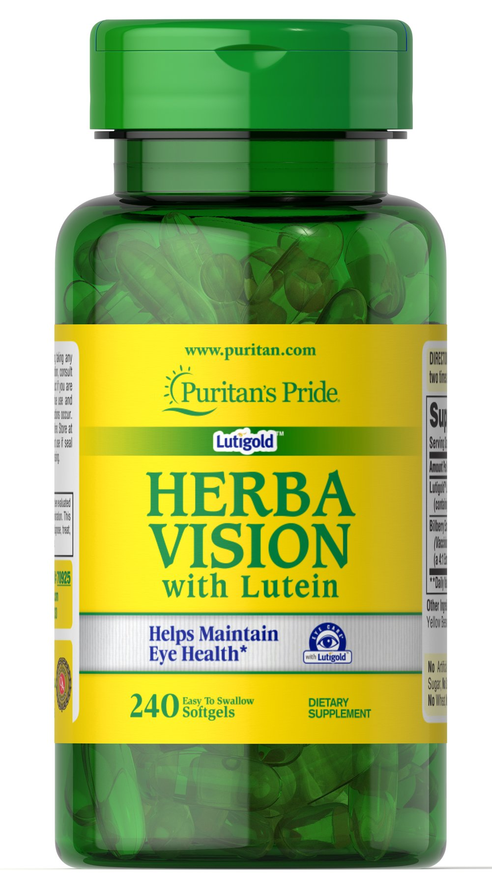 Herbavision with Lutein and Bilberry <p><strong></strong></p>•    Nutritional support for your eyes**<br />•    Contributes to healthy vision**<br />•    Formulated with Lutigold™ Lutein<br /><br />Formulated with Lutigold™Lutein, which is derived from only pure, natural sources.<br />Lutigold™ has never been synthesized in a lab and is a non-genetically modified