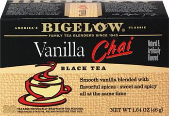 Vanilla Chai Black Tea <p><strong>From the Manufacturer's Label:</strong></p><p><strong>With a Blend of Vanilla Flavor and Spices</strong></p><p><strong>Explore the Mystery of Chai</strong></p><p>Chai is a delightful blend of tea and exotic spices. It is often brewed with milk, which gives Chai a wonderful, creamy characteristic. In Bigelow Vanilla Chai tea, we have added vanilla. To enjoy the authentic Chai experience