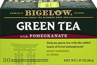 Green Tea with Pomegranate <p><strong>From the Manufacturer's Label:</strong></p><p>To make Green Tea with Pomegranate, Bigelow uses only the finest quality tea that has been grown in higher-elevation gardens and gently pressed to bring out the tea's natural, smooth flavor. The exciting taste of pomegranate is then masterfully blended with delicate green tea before wrapping each tea bag in its own protective pouch to seal in all the wonderful flavor and freshness. &