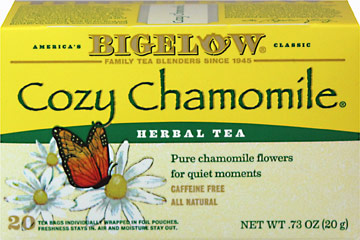 Cozy Chamomile Herb Tea <p><strong>From the Manufacturer's Label:</strong></p><p><strong>Pure Chamomile for Quiet Moments</strong></p><p><strong>Caffeine Free</strong></p><p>Bigelow's individual flavor-protecting envelopes ensure great taste and freshness<strong>. </strong>No better way to wind down after a long day with this Cozy Chamomile tea!<strong><br /></strong></p> 20 Tea Bags