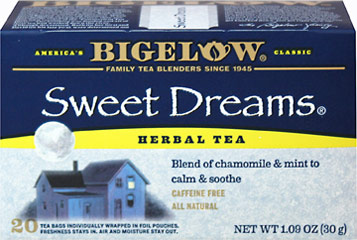 Sweet Dreams Herbal Tea <p><strong>From the Manufacturer's Label:</strong></p><p><strong>Relaxing Blend of Chamomile & Mint</strong></p><p><strong>Caffeine Free</strong></p><p>Bigelow's individual flavor-protecting envelopes ensure great taste and freshness.</p> 20 Tea Bags  $5.99
