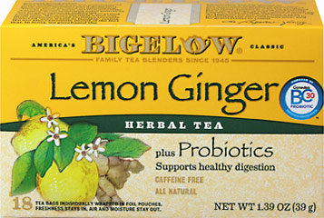 Lemon Ginger Herb Plus Probiotics Tea <p><strong>From the Manufacturer's Label:</strong></p><p><strong>Bigelow Lemon Ginger Herb Plus. Herb tea….only better!</strong></p><p>Bursting with flavor, this caffeine-free herb tea provides a momentary break from the busy day. Best of all, it effectively delivers BC Probiotics.</p><p>Now, while you're enjoying the soothing aroma and blended flavors of lemon with a hint of ginger, you'll be