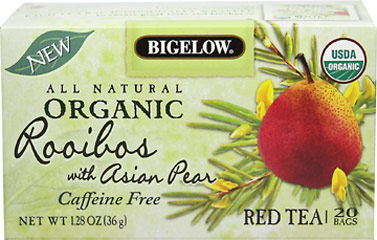 Organic Rooibos with Asian Pear Tea <p><strong>From the Manufacturer's Label:</strong></p><p><strong>Caffeine Free</strong></p><p><strong>USDA Organic</strong></p><p>Bigelow® Rooibos with Asian Pear marries the distinctively sweet, nutty taste of all-natural, caffeine-free South African rooibos with healthful and delicate Asian pear for the perfect blend. Then, as tea is a sensitive leaf, to ensure 100% freshness,