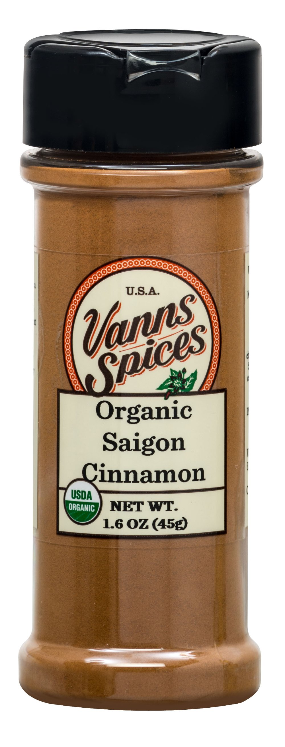 Organic Ground Saigon Cinnamon  1.6 oz Bottle  $7.99