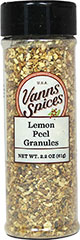 Lemon Peel Granules <strong></strong><p><strong>From the Manufacturer:</strong></p><p>Dried granulated lemon peel is useful for lemon flavor in dry rubs or seasoning mixes. It gives a lemon fragrance to chicken, fish and vegetables.</p> 2.2 oz Granules  $3.49