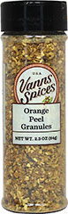 Orange Peel Granules <strong></strong><p><strong>From the Manufacturer:</strong></p><p>Use these dried orange peel granules for a concentrated orange flavor anywhere a burst of citrus would be needed.</p> 2.3 oz Granules  $7.99