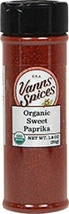 Organic Sweet Paprika <strong></strong><p><strong>From the Manufacturer:</strong></p>Only the sweetest of the peppers are used to make the robust sweet paprika. Rich in color, this sweet paprika is indispensable in for goulash, deviled eggs, and chicken dishes.<br /> 1.8 oz Bottle  $9.99