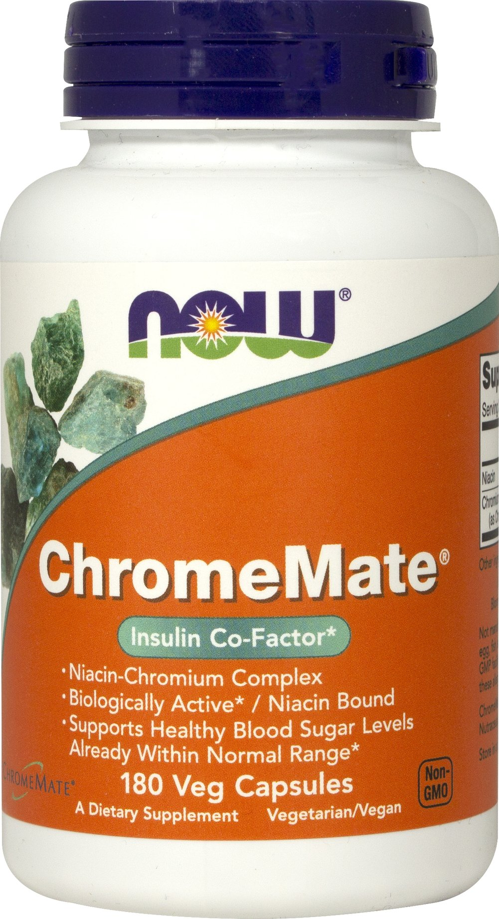 Chromemate® Chromium Polynicotinate 200 mcg <p><strong>From the Manufacturer's Label:</strong></p><p>Patented Chromium Complex</p><p>Biologically Active/Niacin Bound</p><p>Supports Healthy Blood Sugar Levels**</p><p>NOW® ChromeMate® contains a unique patented niacin-bound chromium complex.  Chromium is an essential trace mineral that works to support healthy blood glucose levels already within a normal range and