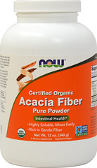 Organic Acacia Fiber Powder 6500 mg <p><strong>From the Manufacturer's Label:</strong></p><p>Highly Soluble, Mixes Instantly</p><p>Gentle Fiber</p><p>NOW® Organic Acacia Fiber Powder is a natural, pure, soluble dietary fiber produced from the gum of the Acacia tree.  Scientific studies have shown that as part of the diet, soluble fiber can help to encourage intestinal regularity.**  Acacia Powder is also known to be an excellent preb