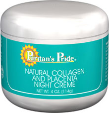 Natural Collagen and Placenta Night Creme <p>This formula contains special natural ingredients. Use Collagen and Placenta Night Cream on your face and neck area, as well as those delicate areas like eyelids and under the eyes. Use nightly to provide rich moisture balance.</p> 4 oz Cream  $8.99