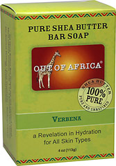 Out of Africa® Shea Butter Bar Soap Verbena <p><strong>From the Manufacturer's Label:</strong></p><p><strong>20% Unrefined Shea Butter</strong></p><p><strong>Shea Butter Hand Made in West Africa</strong></p><p>All Shea Butters are not created equal:</p><p>- Our products are made with 20% pure, unrefined Shea Butter that keeps all the moisture intact and are naturally rich in vitamins A, E and F. </p