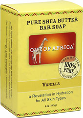 Out of Africa® Shea Butter Bar Soap Vanilla <p><strong>From the Manufacturer's Label:</strong></p><p><strong>20% Organic Unrefined Shea Butter</strong></p><p><strong>Shea Butter Hand Made in West Africa</strong></p><p>All Shea Butters are not created equal.  Most other Shea Bar Soaps contains one or two percent Shea Butter. </p><p>Helps provide education to children in West Africa </p><p>Ma